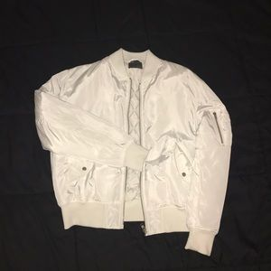 White reflective bomber jacket